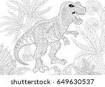 stylized tyrannosaurus  t rex ... | Shutterstock .eps vector #649630537