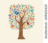 concept tree made of colorful... | Shutterstock .eps vector #649631623
