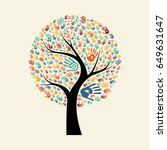 tree hands of colorful diverse... | Shutterstock .eps vector #649631647