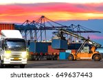 industrial logistics containers ... | Shutterstock . vector #649637443