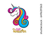 vector cute unicorn icon...   Shutterstock .eps vector #649639363