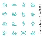 set of 16 people outline icons... | Shutterstock .eps vector #649663453