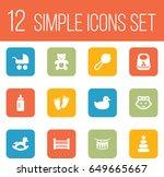set of 12 child icons set...   Shutterstock .eps vector #649665667