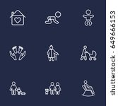 set of 9 family outline icons... | Shutterstock .eps vector #649666153