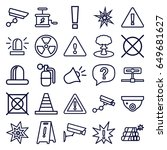 caution icons set. set of 25... | Shutterstock .eps vector #649681627