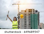 happy young engineer on the... | Shutterstock . vector #649689547