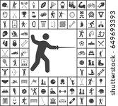 fencing sword icon. sport set... | Shutterstock .eps vector #649693393