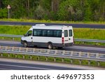 minibus goes on the country... | Shutterstock . vector #649697353