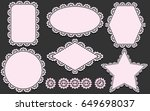 pattern brush and set of lace... | Shutterstock . vector #649698037
