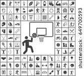 basketball basket and ball icon.... | Shutterstock .eps vector #649700593
