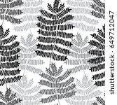 fern motif hand drawn pattern.... | Shutterstock .eps vector #649712047