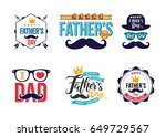 set of happy fathers day... | Shutterstock .eps vector #649729567