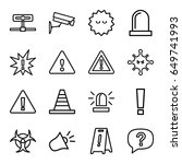 attention icons set. set of 16... | Shutterstock .eps vector #649741993