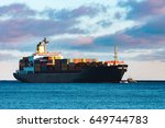 modern black container ship