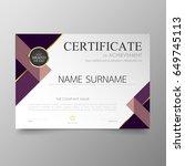 certificate premium template... | Shutterstock .eps vector #649745113