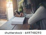 beautiful woman  christian ... | Shutterstock . vector #649748293