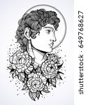 hand drawn beautiful portrait... | Shutterstock .eps vector #649768627