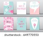 set of summer card on pattern... | Shutterstock .eps vector #649770553