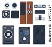 home sound system stereo flat... | Shutterstock .eps vector #649772317