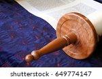 selective focus of torah scroll.... | Shutterstock . vector #649774147
