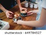 barista and waitress serving... | Shutterstock . vector #649784527