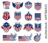 made in usa labels. emblems... | Shutterstock .eps vector #649786423