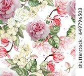 beautiful watercolor pattern... | Shutterstock . vector #649796503