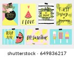 summer june greeting cards and... | Shutterstock .eps vector #649836217