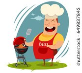 man in a chef hat cooking a... | Shutterstock .eps vector #649837843