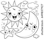 cute sun  moon  stars and... | Shutterstock . vector #649837927