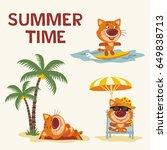 summer time. set happy kitten... | Shutterstock .eps vector #649838713