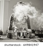 a young woman cooks a bolognese ... | Shutterstock . vector #649841947