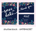 wedding invitation card  with... | Shutterstock .eps vector #649846387