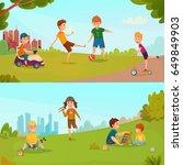 colored carton kids banner set... | Shutterstock .eps vector #649849903