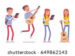 teenager boy and girl wearing... | Shutterstock .eps vector #649862143