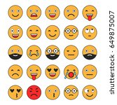 colored flat icons of emoticons.... | Shutterstock .eps vector #649875007