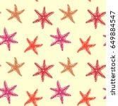 sea stars  seamless pattern... | Shutterstock . vector #649884547