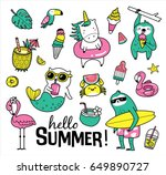 Stock vector set of cute and fun summer stickers badges icons patches design elements 649890727