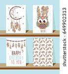 set of cards in boho style.... | Shutterstock .eps vector #649902313