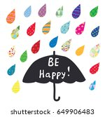 be happy card with umbrella and ...   Shutterstock .eps vector #649906483