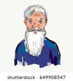 bearded old man vector... | Shutterstock .eps vector #649908547