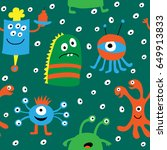 seamless pattern with a cartoon ... | Shutterstock .eps vector #649913833