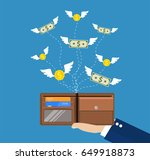 dollars and coins with wings... | Shutterstock . vector #649918873