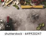italian food background with... | Shutterstock . vector #649920247
