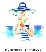 girl in hat and swimsuit with... | Shutterstock . vector #649925083