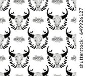 cow skull seamless pattern with ... | Shutterstock .eps vector #649926127