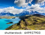 amazing mountain landscape with ... | Shutterstock . vector #649927903