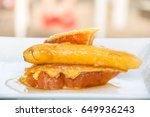honey french toast with fried... | Shutterstock . vector #649936243