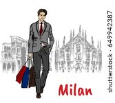 sketch of man with shopping... | Shutterstock .eps vector #649942387