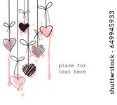 hand drawn hanging hearts on... | Shutterstock .eps vector #649945933